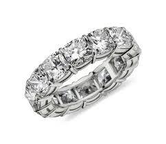 cushion ring cushion cut eternity diamond ring in platinum 10 ct tw blue nile