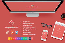Easy Online Resume by Responsive Html5 Diamond Resume Cv Website Templates Creative
