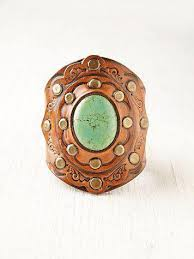 leather cuff bracelet with images Aegean boho leather cuff bracelet turquoise three bird nest jpg