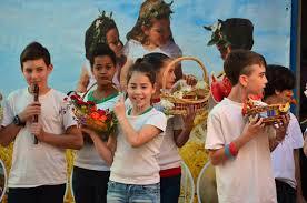 school children celebrating shavuot pentecost editorial stock
