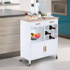 homcom portable kitchen trolley with bamboo top storage cabinet