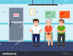 patients waiting room hospital health care stock vector 668491204
