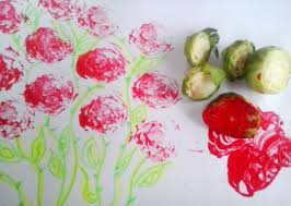 kids craft painting brussels sprout stamping get crafty