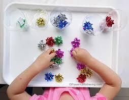 bags of christmas bows bow sorting christmas busy bags