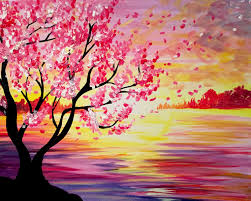 learn to paint sunset cherry blossoms