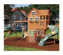 tree house playset cedar wooden playhouse kids with slide swing