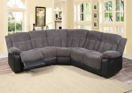 Fabric Living Room Furniture Aubrey 3 Pc Grey Fabric Living Room Reclining Sectional Sofa Set