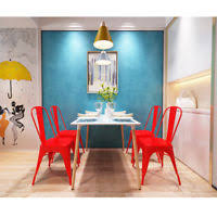 4x armless chair metal legs dining chair side chair in pink dining