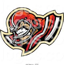 royalty free clip art vector logo of an aggressive football player