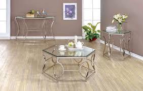 furniture of america marilyn 3 pc geometric chrome frame coffee