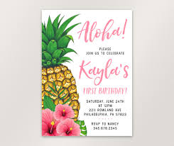 Where To Buy Birthday Invitation Cards Pineapple Birthday Invitation Tropical Aloha Birthday