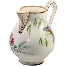 White Ceramic Pitcher Vase Antique Sevres Hand Painted White Porcelain 4 25 Tall Cream