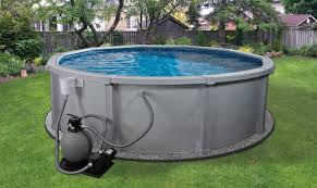 exterior above ground pool idea round design completed with water