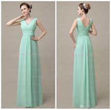 2015 bridesmaid dresses mint green v neck back zipper real
