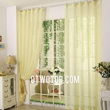 graceful and beautiful pale yellow sheer curtains floral bedroom