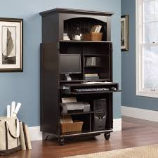 Black Armoire Furniture Computer Armoire In Black With Blue Wall And Picture