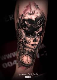 ultimate pocket watch with awesome catrina with skull and roses