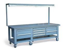 workbench with pegboard and light strong hold products mobile workbench with 8 key lock drawers and