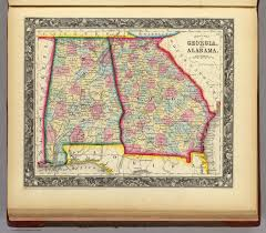 Map Of Alabama Counties County Map Of Georgia And Alabama David Rumsey Historical Map