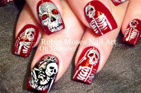 halloween nails diy skeletons in a mirror nail art design