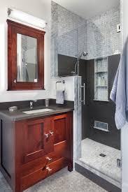 foot niche bathroom beach style with wood framed medicine cabinet