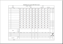 Scorecard Excel Template Baseball Scorecard With Pitch Count Excel Templates