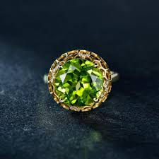 gem gold rings images 18k yellow gold ring with 8 76 ct beautiful genuine peridot gem jpg