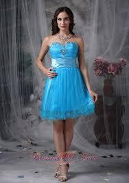 blue cocktail dress sweetheart organza beading mini length