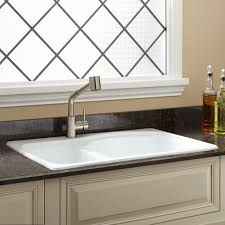 cast iron drop in sink 33 scovell 60 40 offset double bowl cast iron drop in kitchen sink