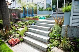 Backyard Steps Ideas Small Garden Trees Ideas In Backyard With Concrete Stairs Design