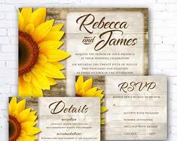 sunflower wedding invitations sunflower wedding invitation etsy