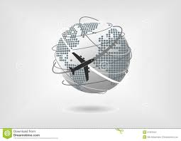 Map Of North America And Europe by Vector Illustration Of Globe And Airplane With Dotted World Map Of