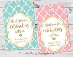 thank you tags wedding thank you tags bridal shower favor tags party
