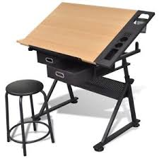 Drafting Table With Computer Tilt Drafting Table Stool Set Drawing Desk 2 Drawer Computer