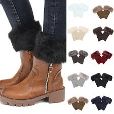 women winter leg warmers trim faux fur warm thick boot cuffs