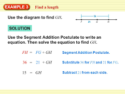 Segment Addition Postulate Worksheet Example 3 Find A Length Use The Diagram To Find Gh Use The