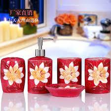 Bathroom Ornaments Ceramic Bathroom Sets Colored Flower Drawing Set Bathroom
