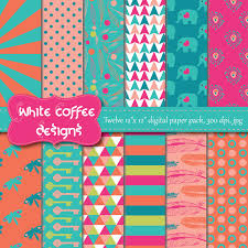 Scrapbook Paper Packs Digital Paper Pack Scrapbook Paper Feathers Flowers