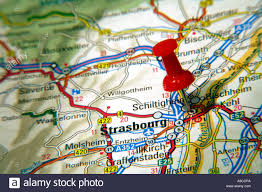 Strasbourg France Map Map Pin Pointing To Strasbourg France On A Road Map Stock