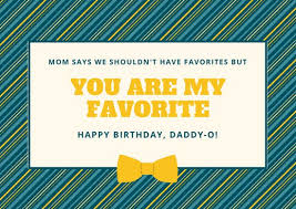 blue and yellow stripes and bow dad birthday card templates by canva