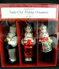 2 set lot 6 williams sonoma glass santa chef tree