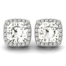 stud diamond earrings cushion cut diamond halo stud earrings 14k white gold 1 00ct allurez