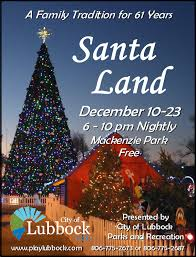 santa land here lighted sign city of lubbock parks and recreation santa land