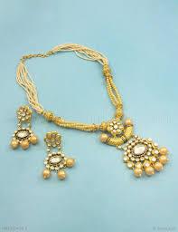 golden fashion necklace images Buy beautiful golden jadau kundan pendant set online high quality jpg