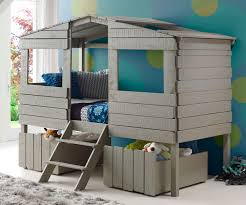 twin size tree house low loft bed in rustic grey finish 1380tlrg
