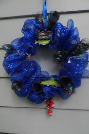 60 best fishing wreaths images on deco mesh