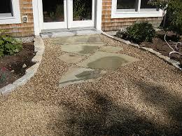 Backyard Pebble Gravel Gravel And Barkmulch Walkways