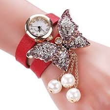 pearl fashion bracelet images Mehrunnisa multiband red leather fashion analog butterfly pearl jpg