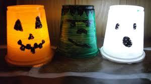 jack o lantern diy plastic cup lantern with led light hallowen