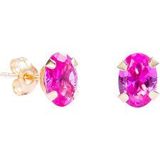 pink stud earrings pori 14k yellow gold oval cut genuine pink sapphire stud earrings